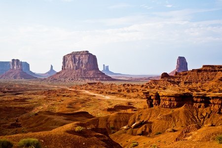 Monument Valley, view from John Fords Point to the beautiful scenery with Merrit Butte and the other sandstone rocks Stock Photo - 9543925