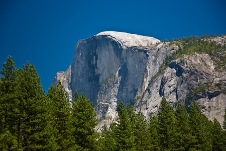 famous rock formation half Dome  in the romantic valley of yosemite park photo