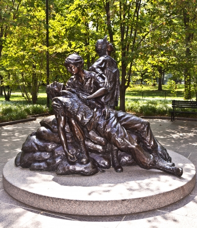 WASH DC -JULY 14: Memorial statues to Vietnam war Women Nurse on July 14,2010 in Washington DC, USA.