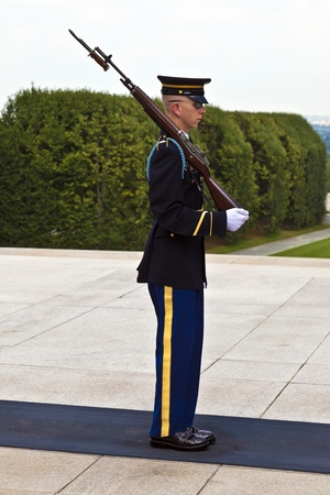WASHINGTON,USA - JULY 15:  changing the guard in the afternoon at the grave of the unknown soldier at the cemetery of Arlington on July 15,2010 in Washington, USA