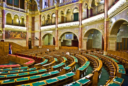 BUDAPEST, HUNGARY - AUGUST 05: inside Famous Hungary parliament without caucus  on  August 05,2008, Budapest, Hungary.  Inaugurated 1896 and Opened to public at Sep 27,1884 and as the Palace of Westminster in Gothic Revival Style. Stock Photo - 9532275