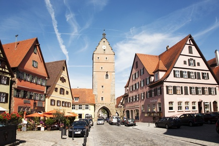Dinkelsbuehl, GERMANY - May 13: visiting the old city Gate W�rnitzer Stadttor in Dinkelsbuehl, the city of late middleages along the romantic street,  May 13, 2010 in Dinkelsbuehl, Germany