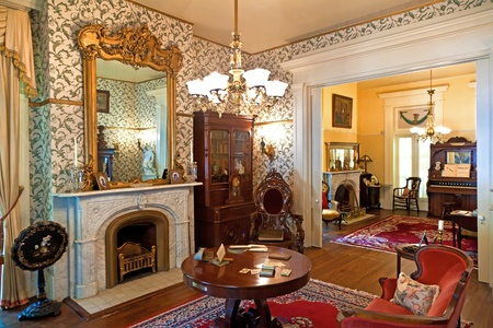victorian fireplace: WILMINGTON, USA - JULY 20: visiting the famous Latimer House in Wilmington, open to public on July 20, 2010 in Wilmington, USA. House was built by merchant Zebulon Latimer in 1852.