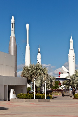 cape canaveral: ORLANDO, USA - JULY 25: The Rocket Garden at Kennedy Space Center features  authentic rockets from past space explorations on July 25, 2010 in Orlando, USA.