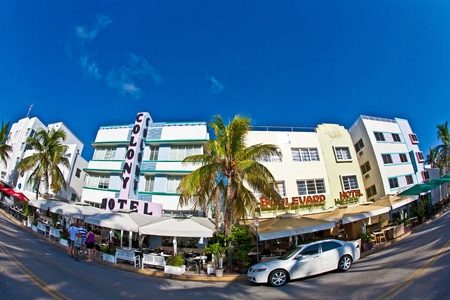 MIAMI BEACH, USA - JULY 31: midday view at Ocean drive on July 31,2010 in Miami Beach, Florida. Art Deco architecture in South Beach is one of the main tourist attractions in Miami.