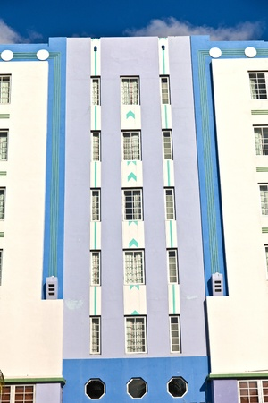 disctrict: MIAMI BEACH, USA - AUGUST 02: midday view at Ocean drive on August 02,2010 in Miami Beach, Florida. Art Deco architecture in South Beach is one of the main tourist attractions in Miami. Editorial