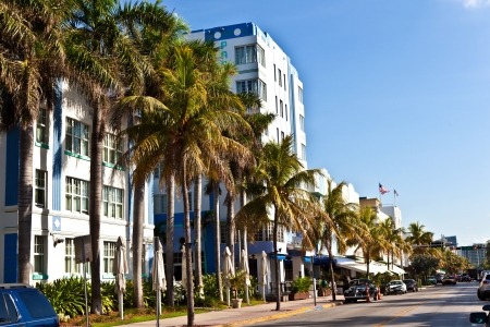 historic district: MIAMI BEACH, USA - AUGUST 02: midday view at Ocean drive on August 02,2010 in Miami Beach, Florida. Art Deco architecture in South Beach is one of the main tourist attractions in Miami. Editorial