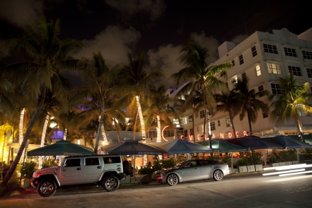 MIAMI BEACH, USA - August 02: Night view at Ocean drive on August 02,2010 in Miami Beach, Florida. Art Deco Night-Life in South Beach is one of the main tourist attractions in Miami. Stock Photo - 9532106