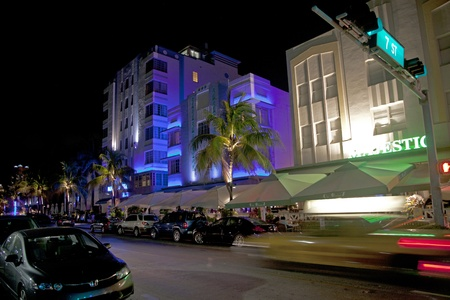 MIAMI BEACH, USA - August 02: Night view at Ocean drive on August 02,2010 in Miami Beach, Florida. Art Deco Night-Life in South Beach is one of the main tourist attractions in Miami.