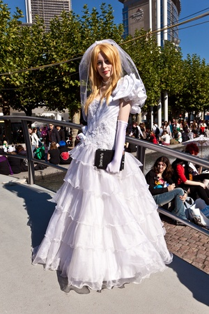 area sexy: FRANKFURT, GERMANY - OCTOBER 10: Public day at Frankfurt international Book Fair, colorful girl made up as Bride  and poses for photografers on October 10, 2010 in Frankfurt, Germany. Editorial
