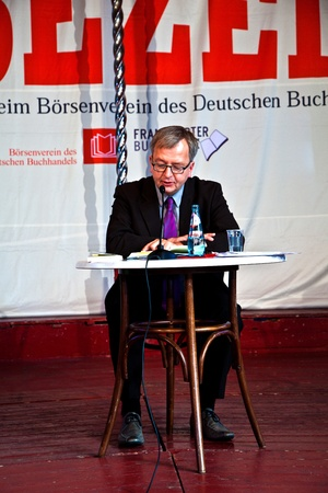 FRANKFURT, GERMANY - OCTOBER 10: public day for Frankfurt Book fair, Hans Zippert reading and presenting his newest book  on October 10, 2010 in Frankfurt, Germany.