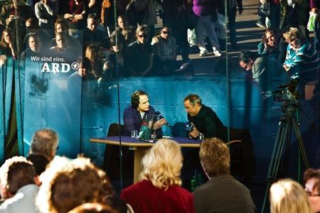 FRANKFURT, GERMANY - OCTOBER 10: public day for Frankfurt Book fair, Hannes Jaenicke, actor and activist against project Stuttgart 21 in interview  on October 10, 2010 in Frankfurt, Germany. Stock Photo - 9538789