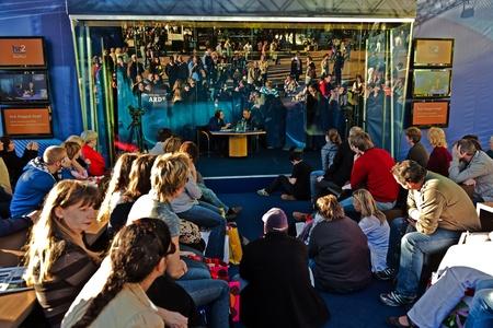 FRANKFURT, GERMANY - OCTOBER 10: public day for Frankfurt Book fair, Hannes Jaenicke, actor and activist against project Stuttgart 21 in interview  on October 10, 2010 in Frankfurt, Germany. Stock Photo - 9538770