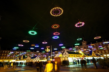 christmas time at plaza de mayor in madrid in the night with illuminated stars