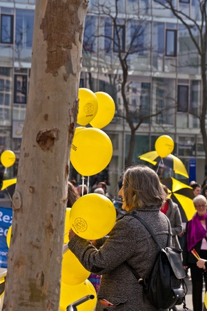 FRANKFURT, GERMANY - MARCH 12: People demonstrate for shutting down the German nuclear power plants  on March 12, 2010 in Frankfurt, Germany. Stock Photo - 9541560