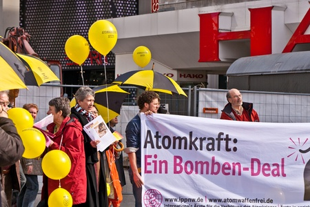 FRANKFURT, GERMANY - MARCH 12: People demonstrate for shutting down the German nuclear power plants  on March 12, 2010 in Frankfurt, Germany.