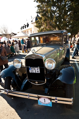 HOFHEIM, GERMANY - MARCH 20: Beautiful oldtimer take place in the MTK Classics 2011 to support the politician Cyriax from the party CDU on March 20, 2011 in Hofheim, Germany.