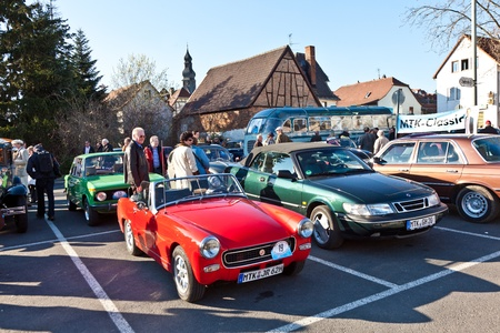 HOFHEIM, GERMANY - MARCH 20: Beautiful oldtimer take place in the MTK Classics 2011 to support the politician Cyriax from the party CDU on March 20, 2011 in Hofheim, Germany. Stock Photo - 9541709