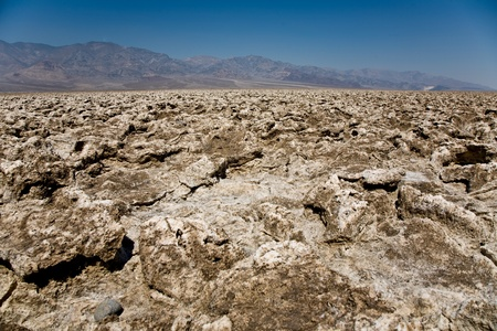 area of salt plates in the middle of death valley, called Devils Golfe Course, Gas is coming from underground photo