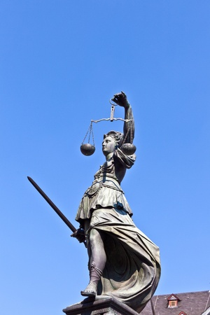 Statue of Lady Justice in front of the Romer in Frankfurt - Germany Stock Photo - 9692363
