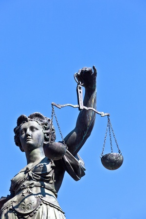 Statue of Lady Justice in front of the Romer in Frankfurt - Germany Stock Photo - 9692365
