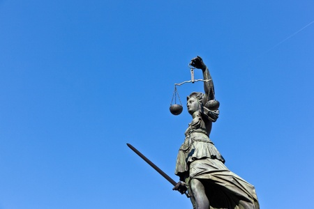 Statue of Lady Justice in front of the Romer in Frankfurt - Germany Stock Photo - 9692359