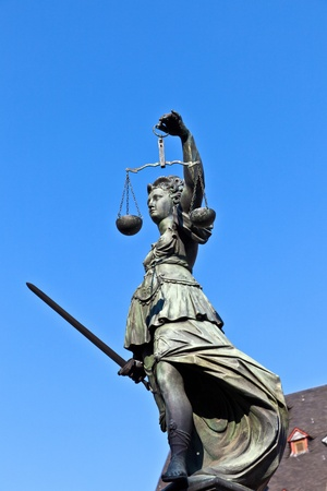 Statue of Lady Justice in front of the Romer in Frankfurt - Germany Stock Photo - 9692362