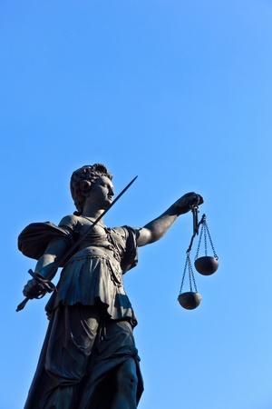 Statue of Lady Justice in front of the Romer in Frankfurt - Germany Stock Photo - 9692357