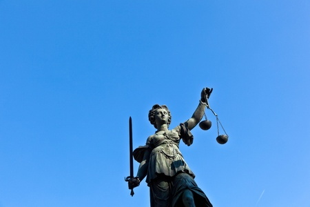 Statue of Lady Justice in front of the Romer in Frankfurt - Germany Stock Photo - 9692360