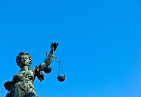 Statue of Lady Justice in front of the Romer in Frankfurt - Germany Stock Photo - 9692354