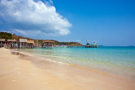 beautiful tropical beach with huts photo