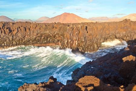 los hervideros: Los Hervideros, coastline with huge waves Stock Photo