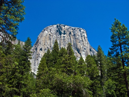 famous rock formation in the romantic valley of yosemite park photo