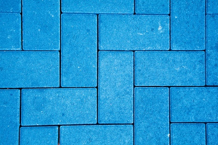 pavement pattern made with cast concrete blocks in blue color photo