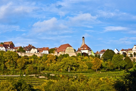 bluer: Rothenburg ob der Tauber, old famous city from medieval times seen from the romantic valley of the river Tauber