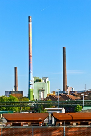 industrial park: Industry park with silo and chimney