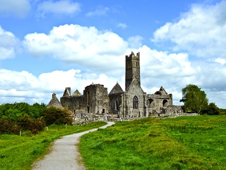 reformation: famous Quin Abbey in Ireland from outside Stock Photo