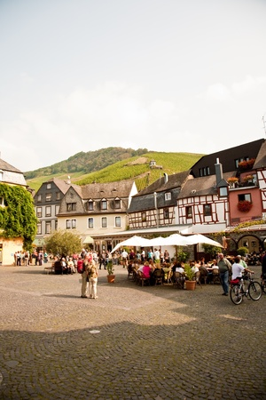 mediaeval: market place an frame house from the mediaeval times in romantic Trittenheim at the river Mosel