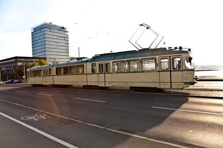 streetcar: historic streetcar, trolley at the Friedensbrücke in Frankfurt