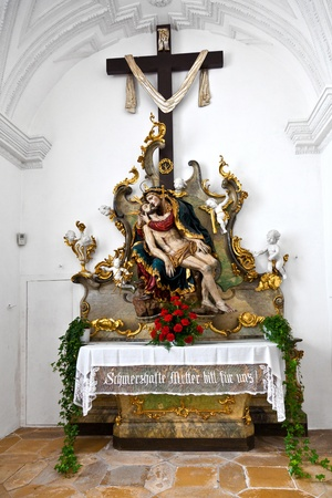 christian altar: famous cloister of Andechs with brewery in Bavaria from inside