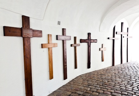 biergarten: crosses for the dead in famous cloister of Andechs
