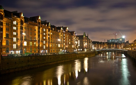 historic Speicherstadt at night in Hamburg
