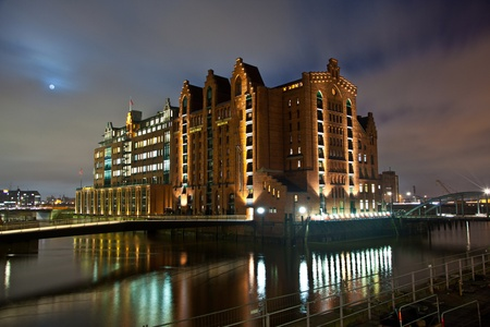 maritime museum in historic Speicherstadt at night in Hamburg