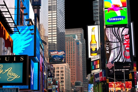advertise with us: NEW YORK CITY - JUL 8: Times Square, featured with Broadway Theaters and huge number of LED signs, is a symbol of New York City and the United States, July 8, 2010 in Manhattan, New York City.