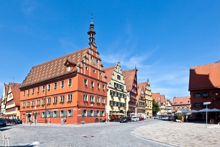 street wise: half-timbered house in famous old romantic medieval town of Dinkelsbuehl in Bavaria, Germay.