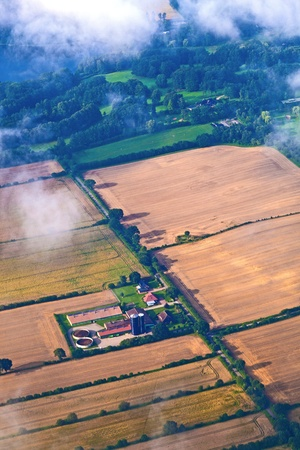 aerial of fields by approaching hamburg photo