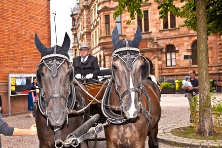 the coachman: WIESBADEN, GERMANY - 23. JULY:  Marriage of Herbert Berghof and Margitta Martinez  in the famous Marktkirche on July 23,2011 in Wiesbaden, Germany. As chairholder of a stagecoach club stagecoach drivers are invited to the marriage.