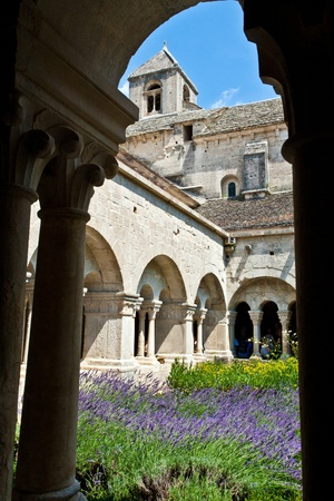 abbey: Cloister of Senanque Abbey, Vaucluse, Gordes, Provence, France