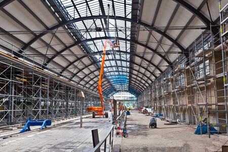 WIESBADEN, GERMANY - 23. JULY: Construction site in the famous classicistical Wiesbaden station on July 23,2011 in Wiesbaden, Germany. The renovation of the station started in 2010 and lasts to 2012. Stock Photo - 10008012