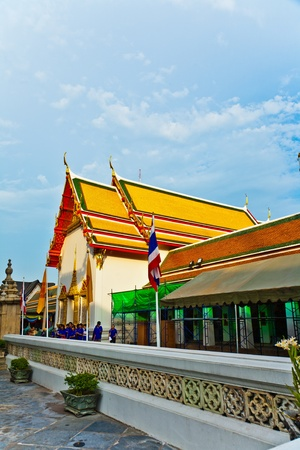 Tempel area Wat Pho in Bangkok with  colorful roof in beautiful light